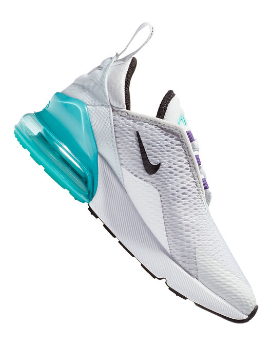reputable site 68c4a e07ab Kid's White & Turquoise Blue Nike Air Max 270 | Life Style ...