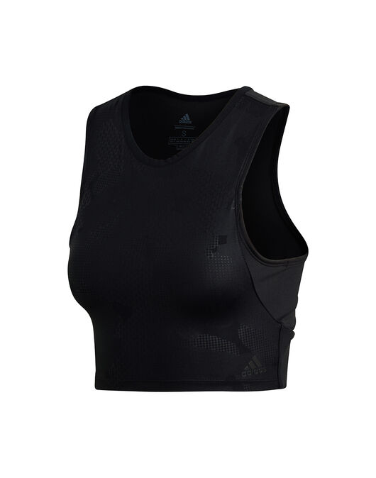 c62ebbcac8b Women's Black & Blue adidas Gym Cropped Tank Top   Life Style Sports
