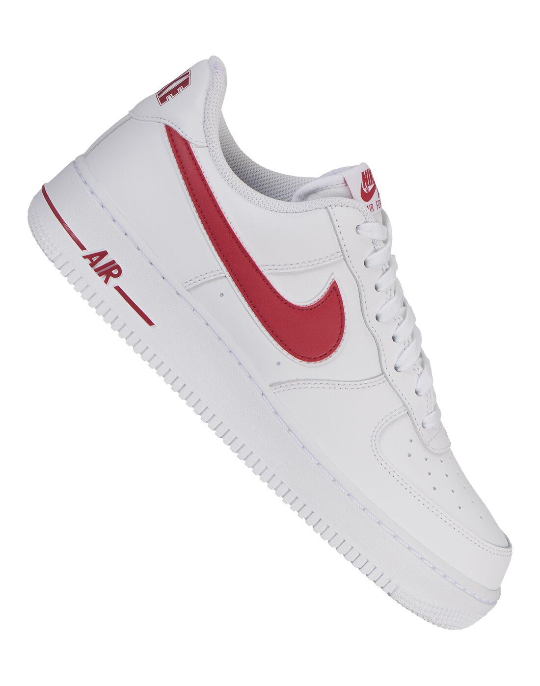 Men's White \u0026 Red Nike Air Force 1