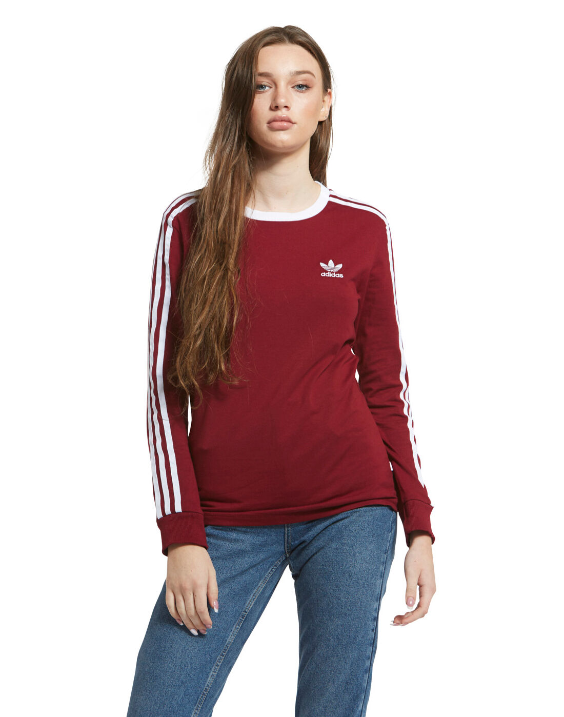 adidas Originals Womens 3 Stripe Long Sleeve T Shirt   Life