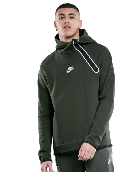 Mens Tech Fleece Reflective Half Zip Hoodie