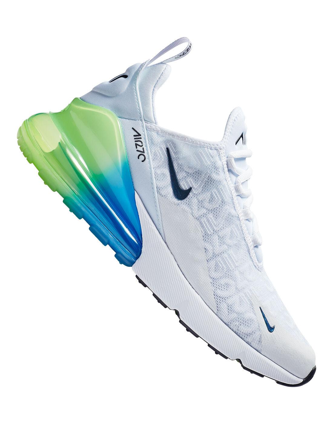 Men's White, Blue & Green Nike Air Max 270 | Life style Sports