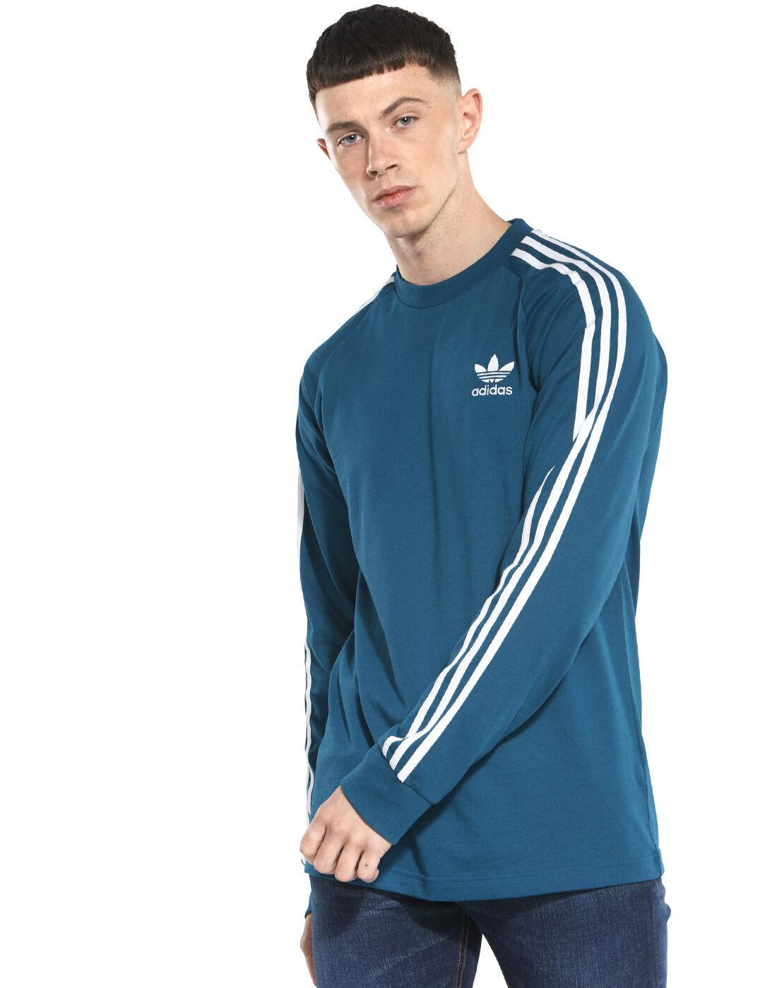 Men's Navy Long Sleeve adidas Originals T-Shirt   Life Style Sports