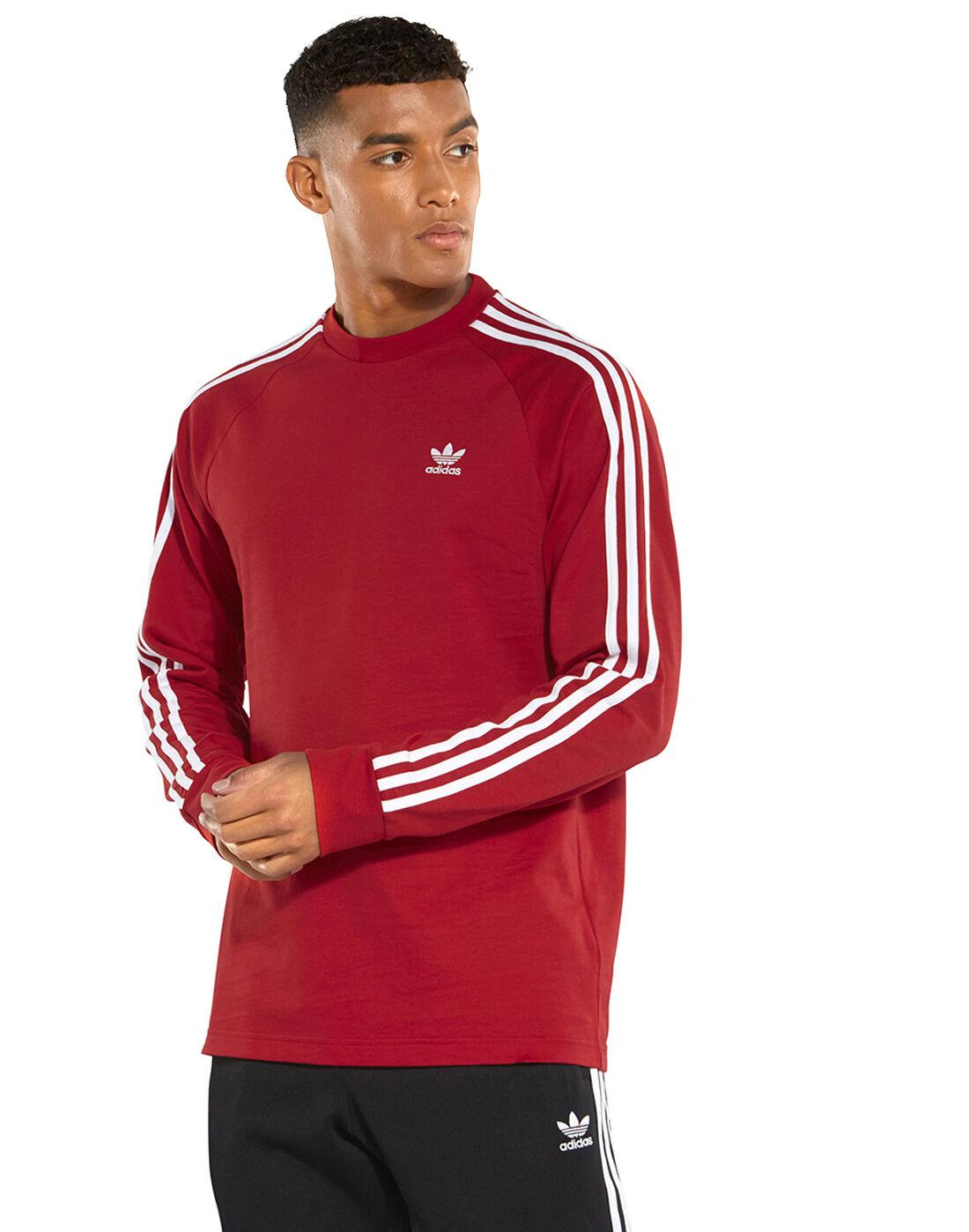 Men's Red Long Sleeve adidas Originals T-Shirt   Life Style Sports