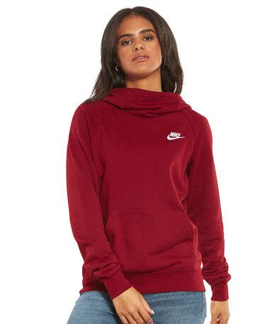 Womens Essential Fleece Funnel Hoodie