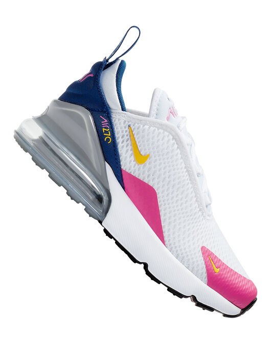 detailed look 9adb2 e31bd Girl's White & Pink Nike Air Max 270 | Life Style Sports