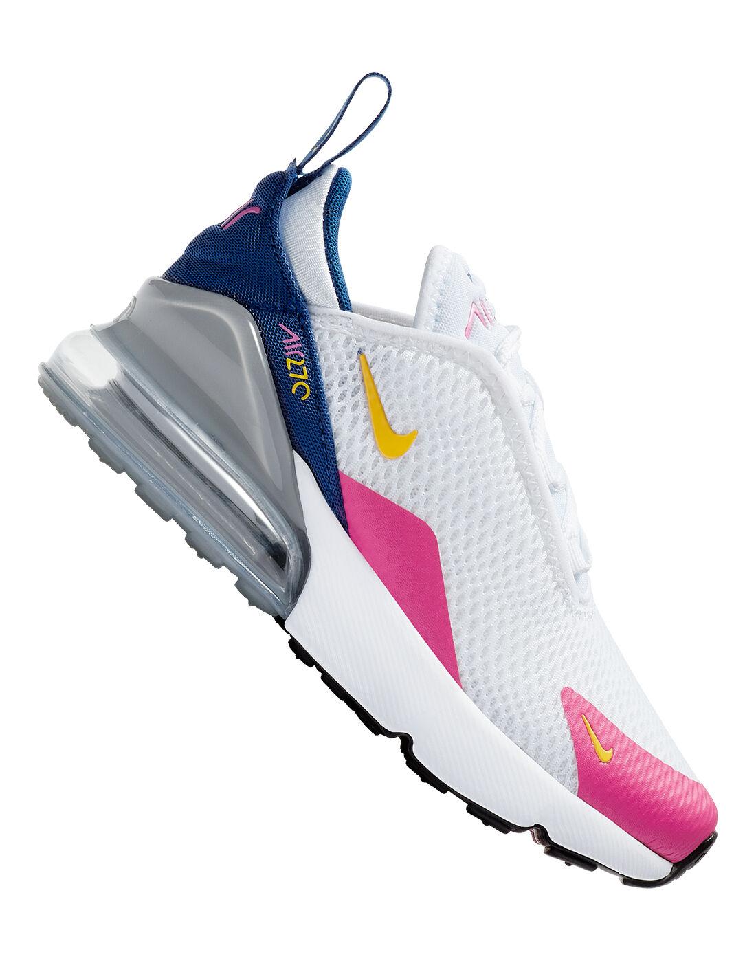 Girl's White \u0026 Pink Nike Air Max 270