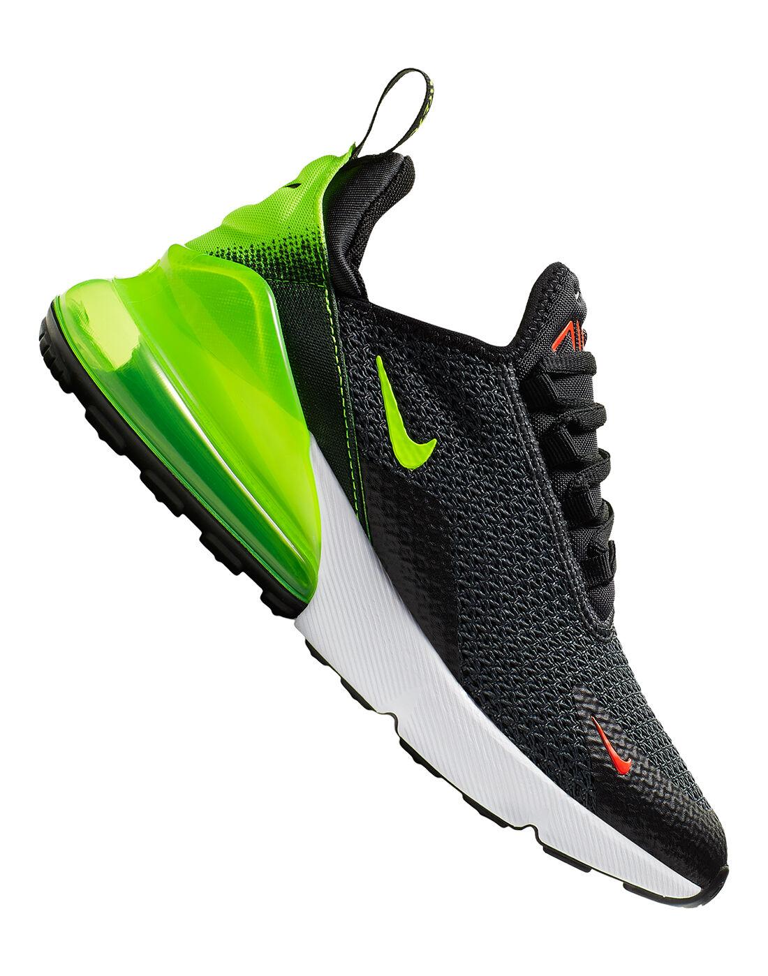 Kid's Black \u0026 Green Nike Air Max 270