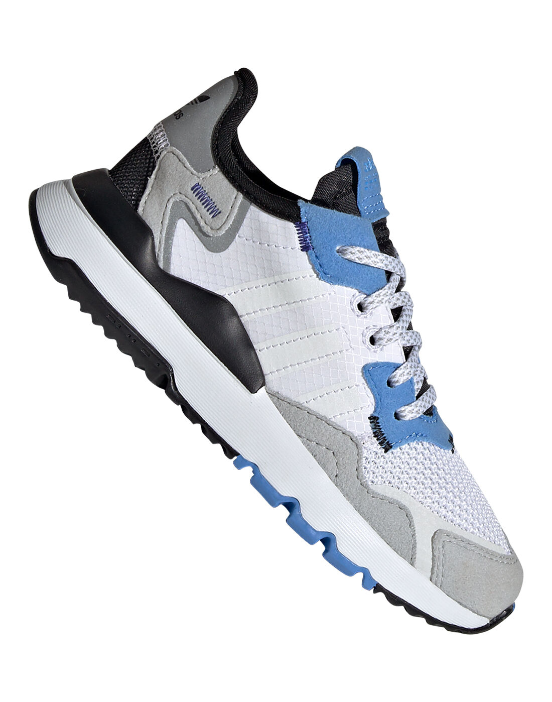 Young Kid's White & Blue adidas Originals Nite Jogger   Life Style ...