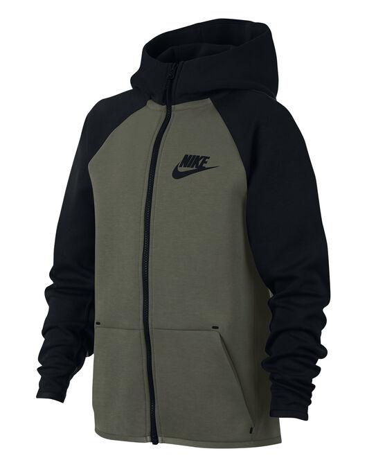 Boy s Green   Black Nike Tech Fleece Hoodie  d7c04ef61c50