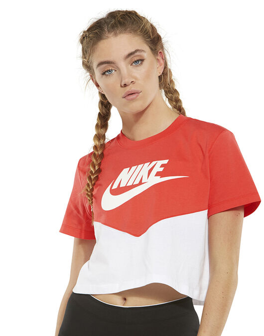 be73271b4 Women's Red & White Nike Cropped T-Shirt | Life Style Sports