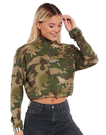Womens Printed Half Zip Sweatshirt