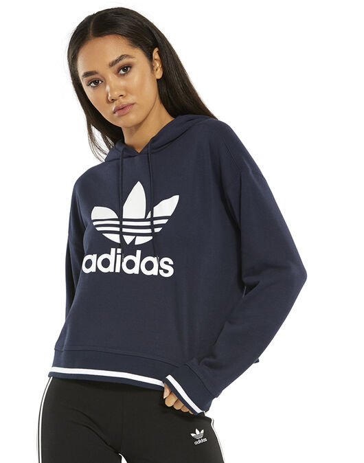 outlet store info for Women's Navy adidas Originals Crop Hoodie | Life Style Sports