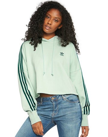 Womens 3 Stripes Cropped Hoodie