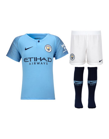 6250a1e15b1 Kids Man City Home 18 19 Kit ...