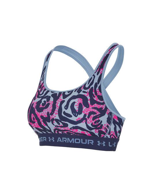 Under Armour Womens Crossback Print Green Ladies Mid Gym Training Sports Bra XS