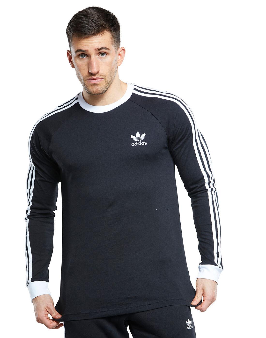 adidas Originals Mens 3-Stripes Long Sleeve T-Shirt - Black ...