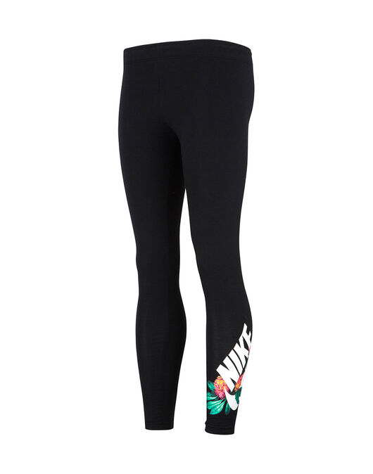 b418dcc2a4552 Girl's Black Nike Floral Leggings   Life Style Sports