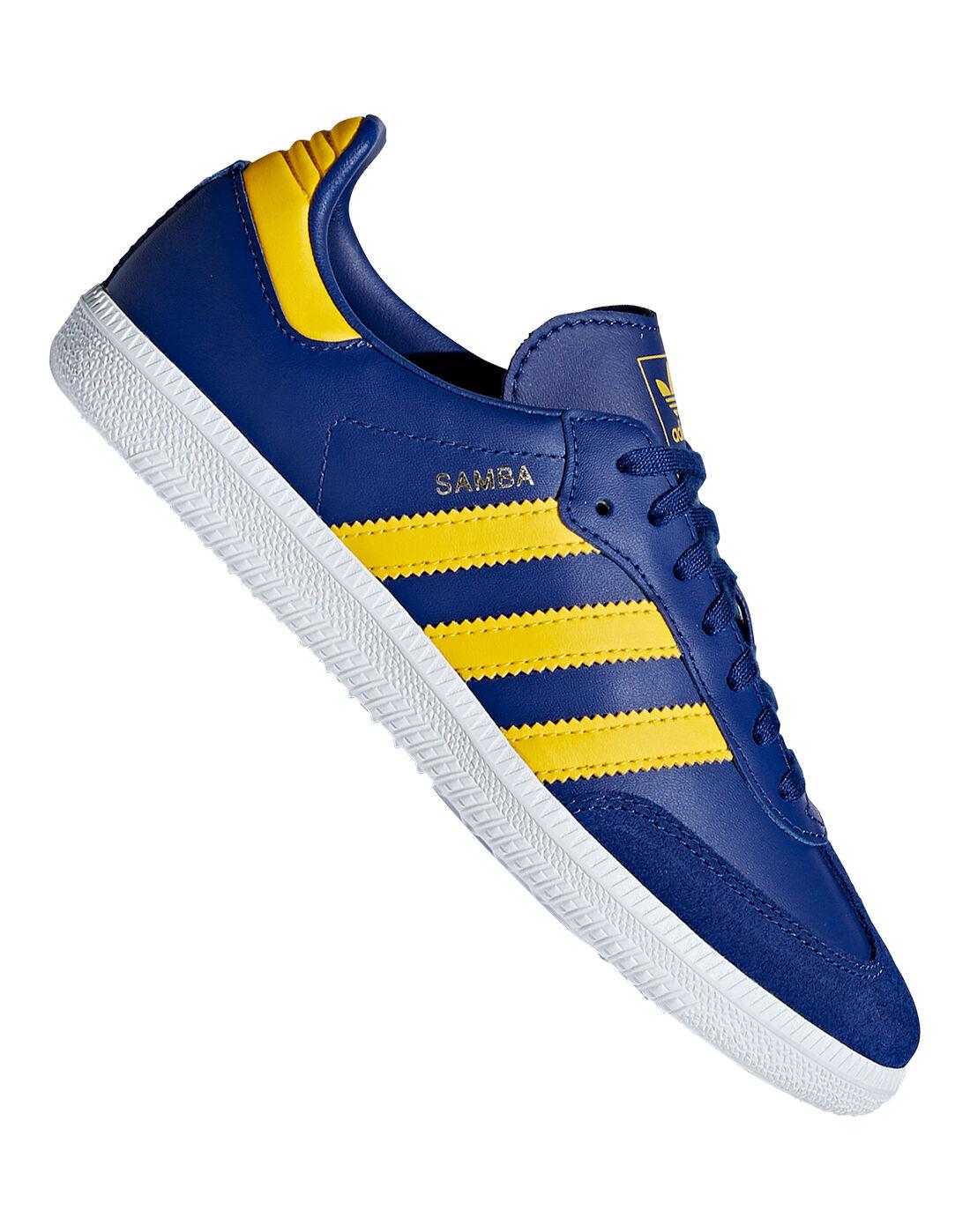 blue and yellow adidas samba trainers