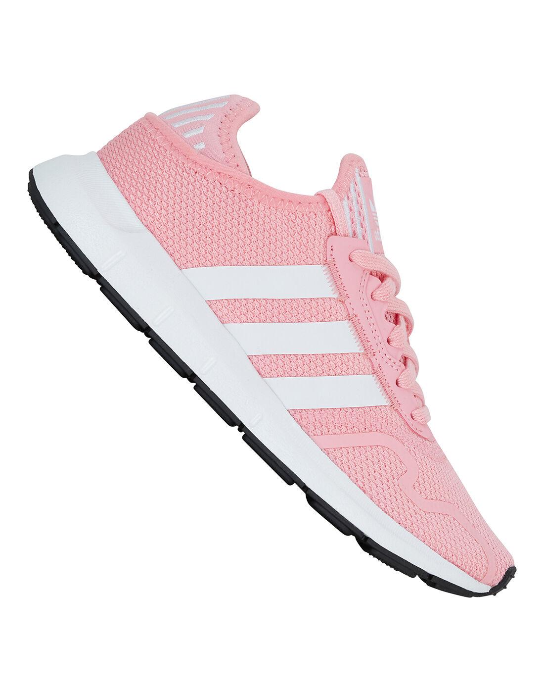 adidas Originals nike air grey white leather stripes background   Older Girls Swift Run