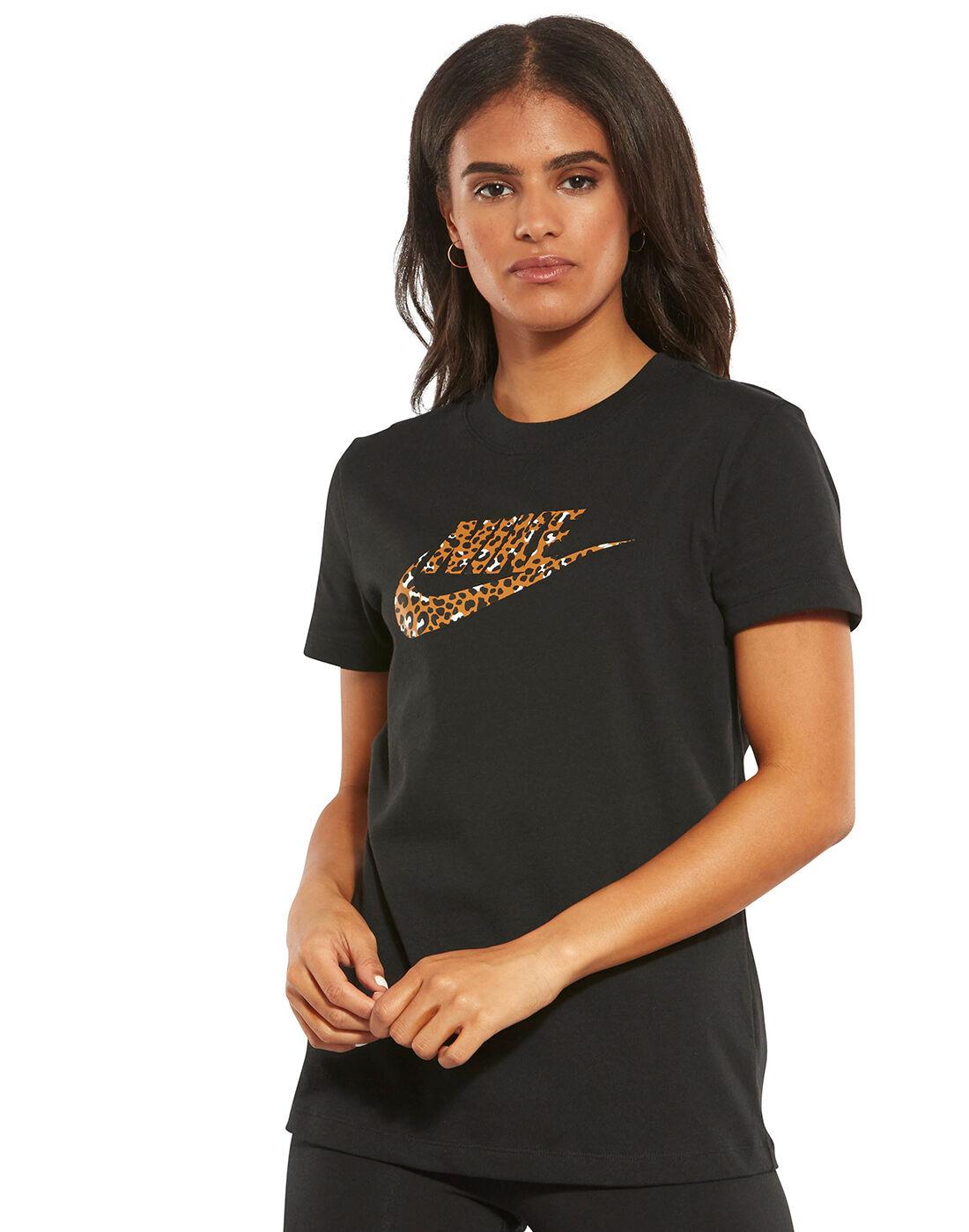 Women's Leopard Print Nike Logo T-Shirt