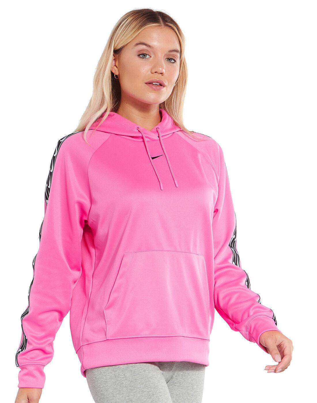 Women's Pink Nike Logo Tape Hoodie