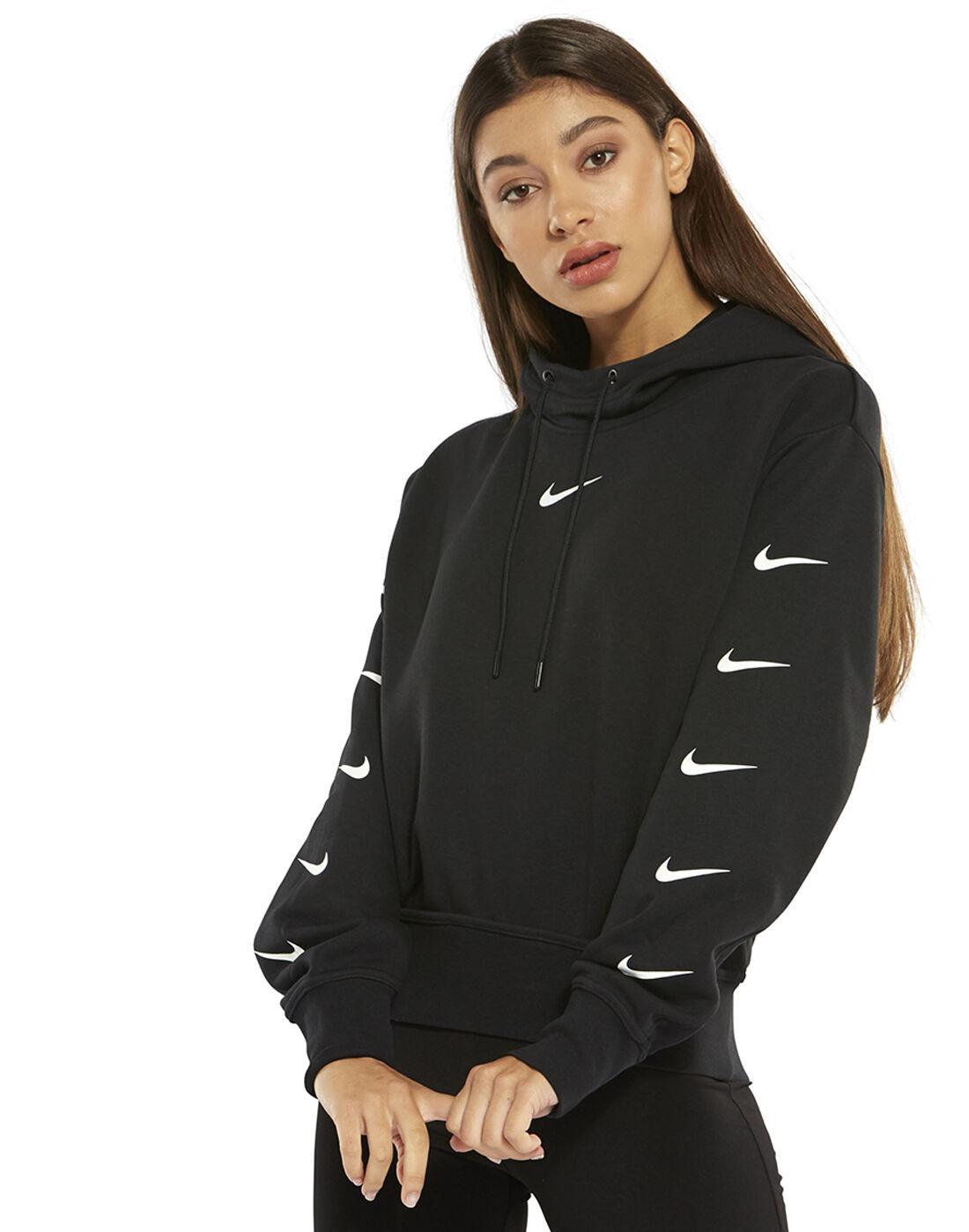 Women's Black Nike Swoosh Hoodie   Life