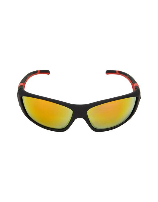 Black Rubber Red Temples Sunglasses
