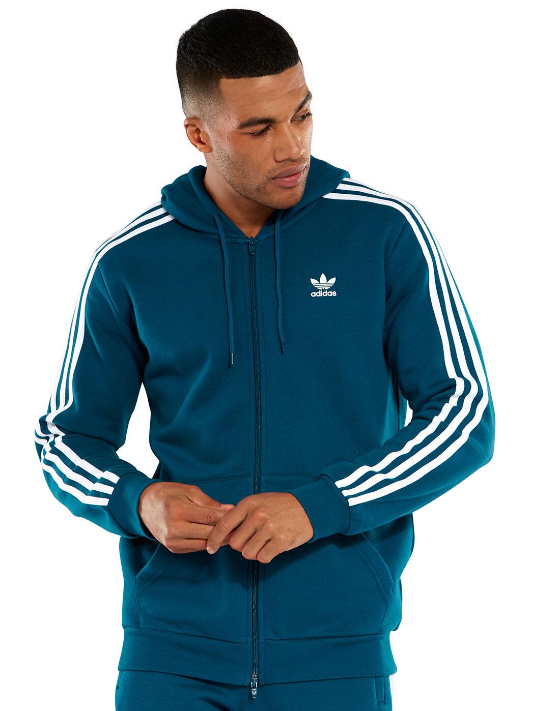 adidas Originals Mens 3 Stripes Full Zip Hoodie | Life Style