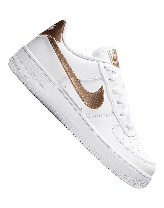 da8ca8ded7 Girl's White & Metallic Nike Air Force 1 | Life Style Sports