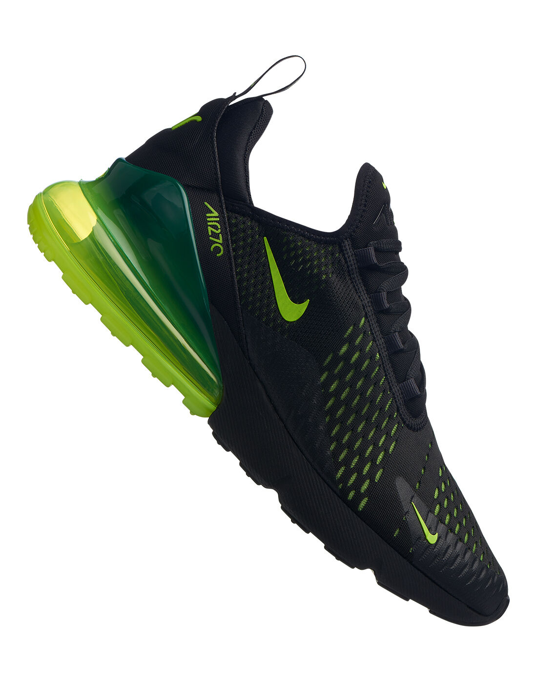 Men's Black & Neon Green Nike Air Max 270 Life Style Sports  Life Style Sports