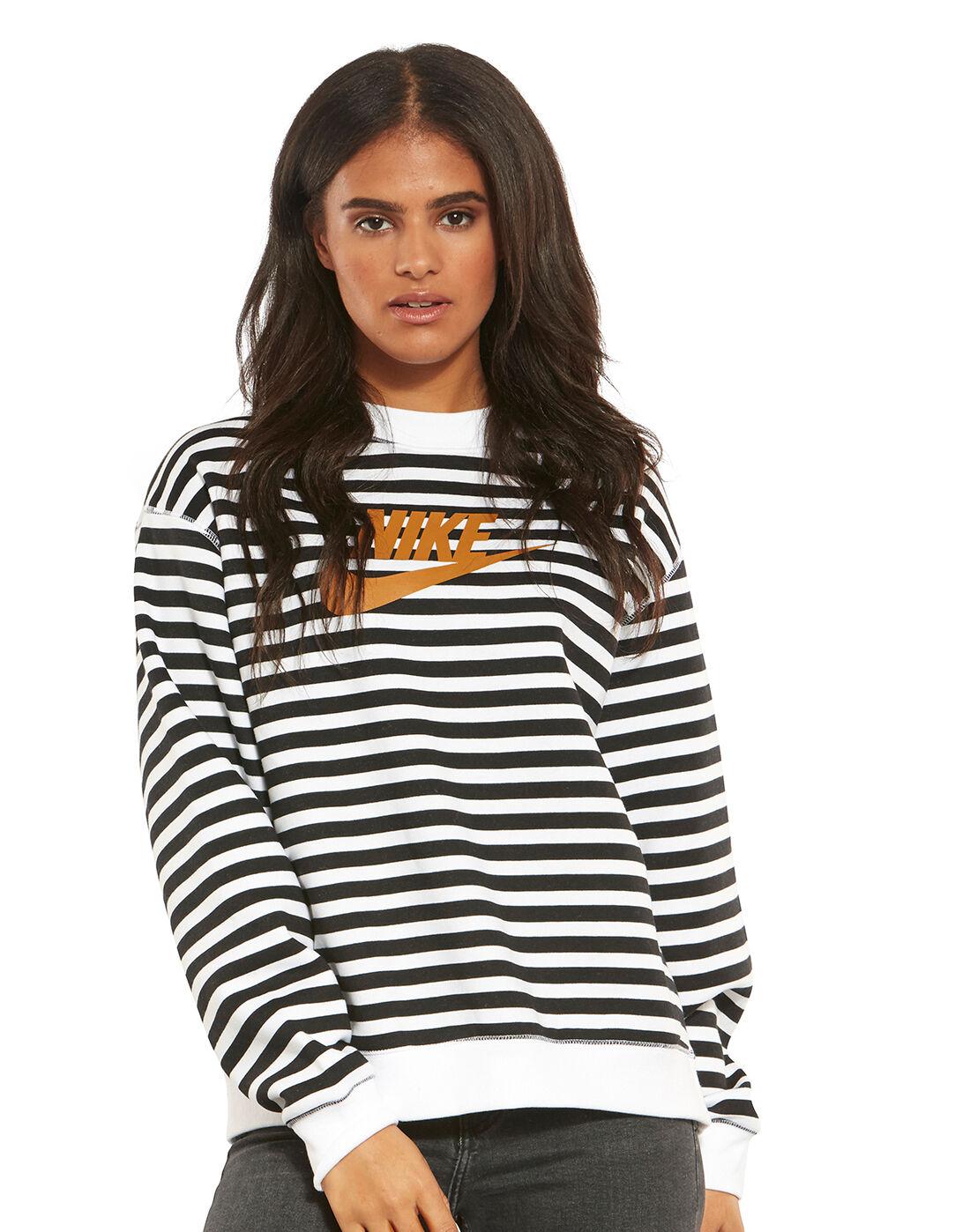 Women's Black & White Stripe Nike Sweatshirt   Life Style Sports