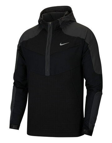 Mens Wild Run Element Hooded Half Zip Top