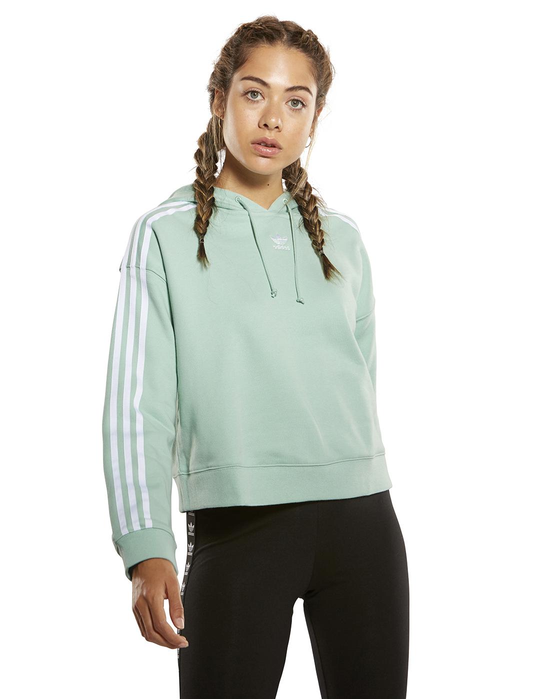 Women S Adidas Originals Cropped Hoody Green Life