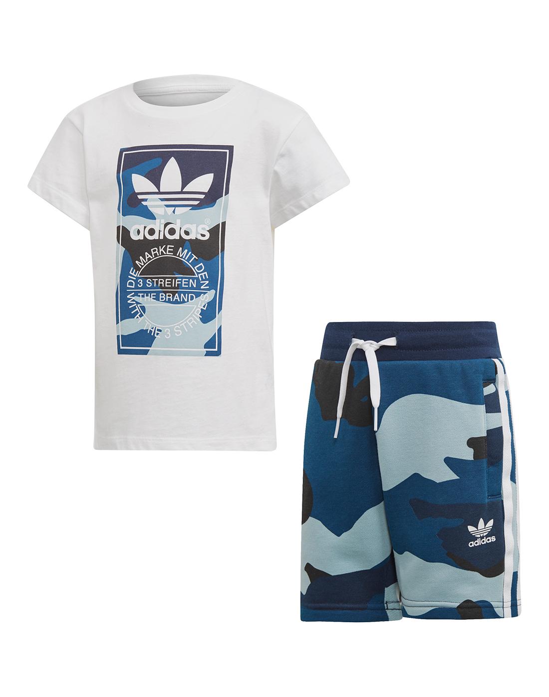 9c7d1beb Young Boy's Blue adidas Originals T-Shirt & Shorts Set   Life Style ...
