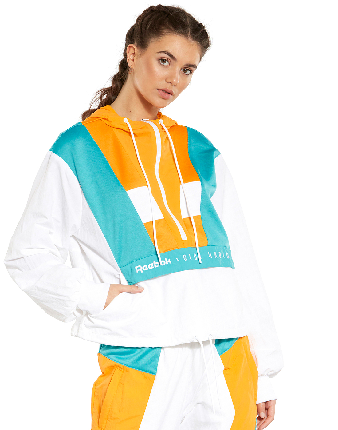 fa3b6ef9bea White   Yellow Gigi Hadid Reebok Cover up Jacket