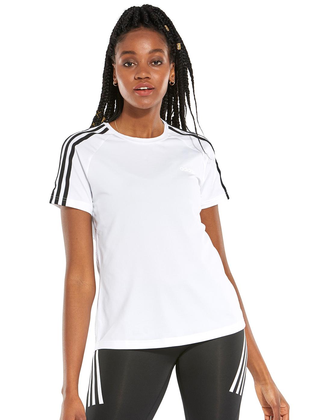 ba17250885a68 Women's White & Black adidas Gym T-Shirt | Life Style Sports