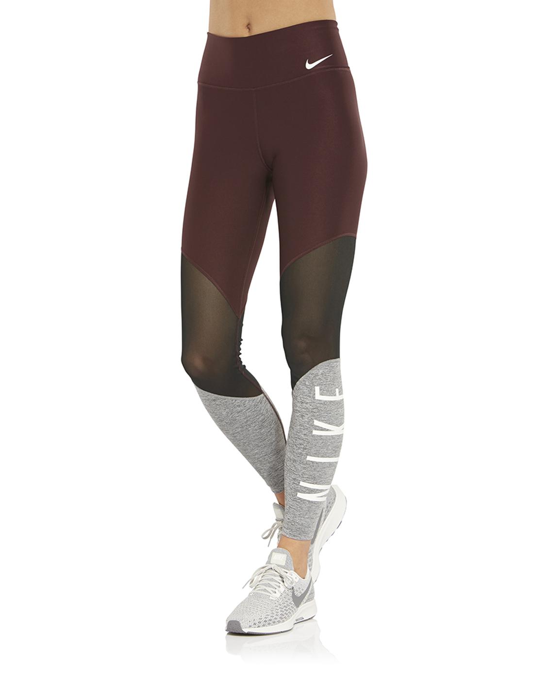1cf63e964d0b9 Women's Burgundy Nike Mesh Gym Leggings | Life Style Sports