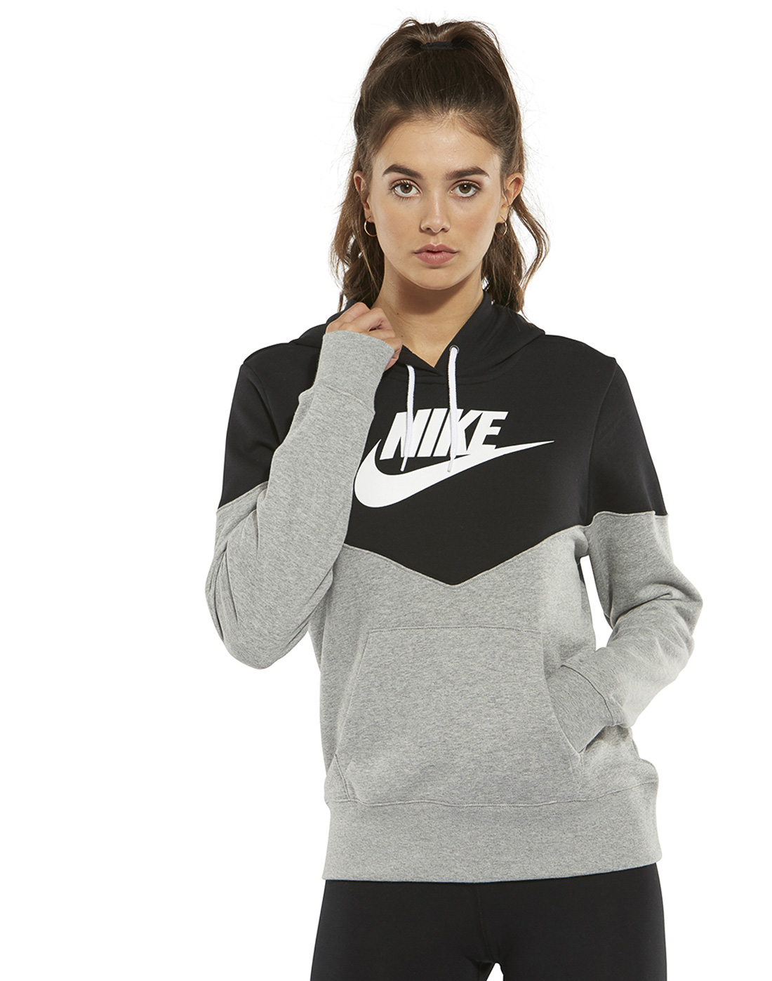 de54d306f Women's Black & Grey Nike Heritage Hoodie | Life Style Sports