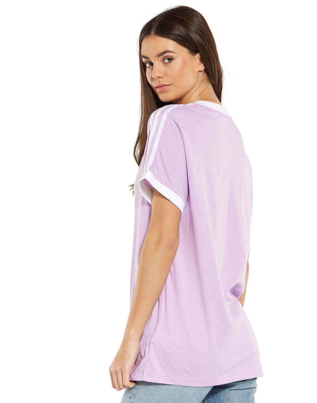 0fa6e85d429 Women's Purple adidas Originals 3-Stripe T-Shirt | Life Style Sports