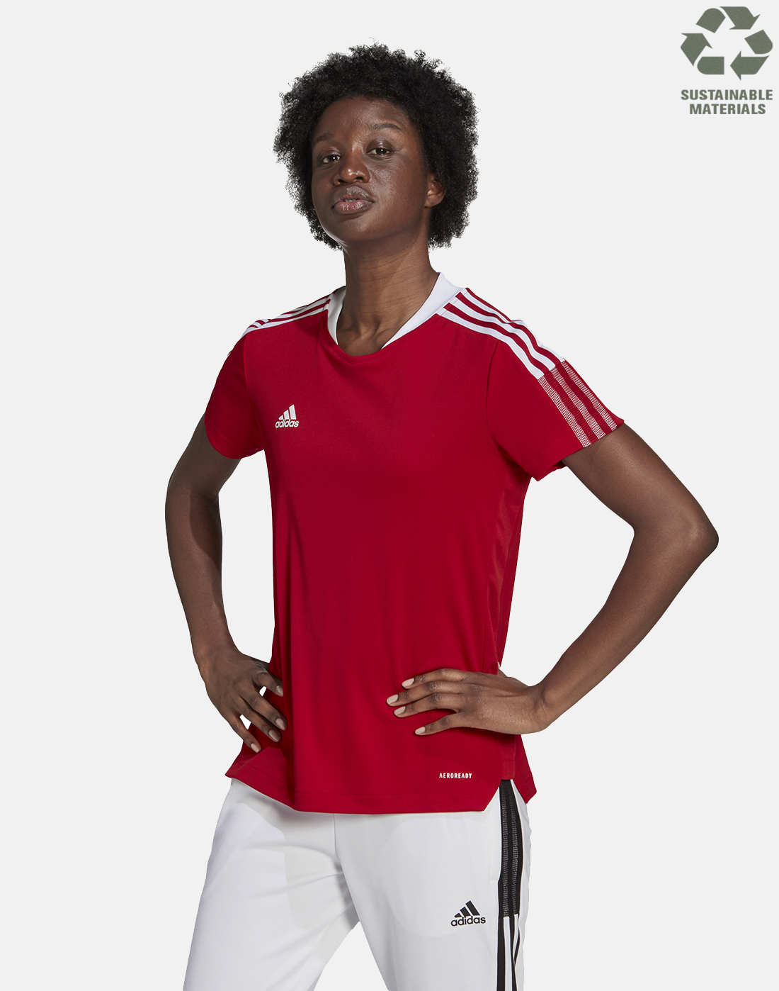 adidas Womens Tiro 21 Training T-Shirt - Red | yeezy cream white ...