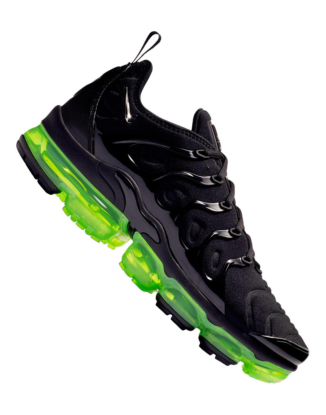 9145dc9ab0 Men's Black & Neon Green Nike Vapormax Plus | Life Style Sports