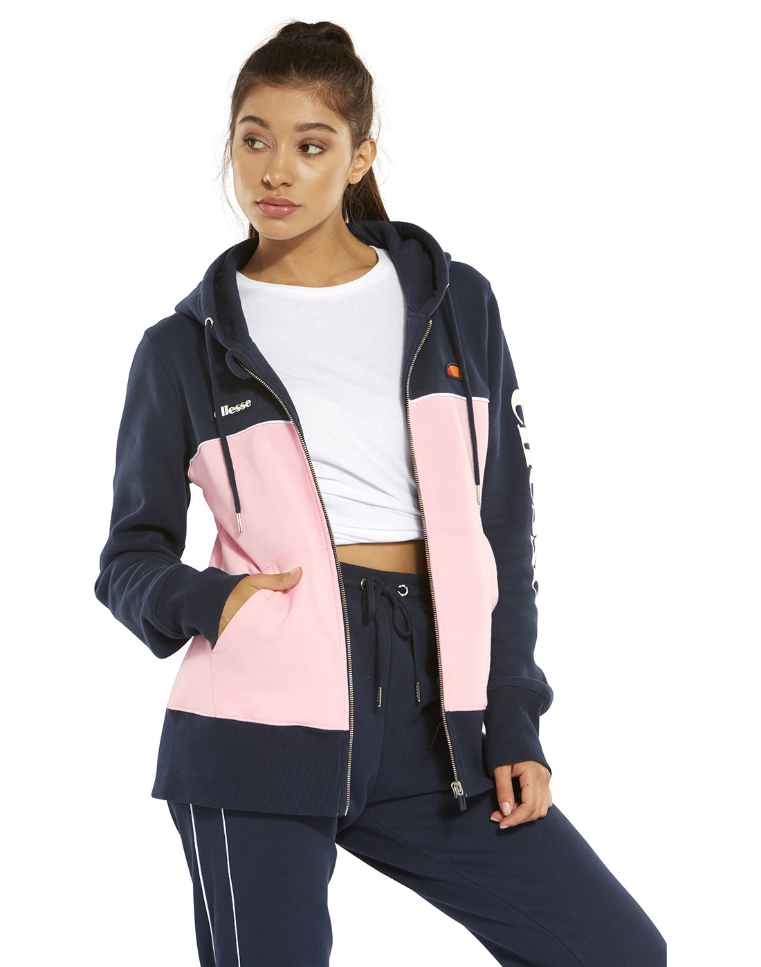 Linea del sito Accompagnare Seminario  Women's Navy & Pink Ellesse Hoodie   Life Style Sports