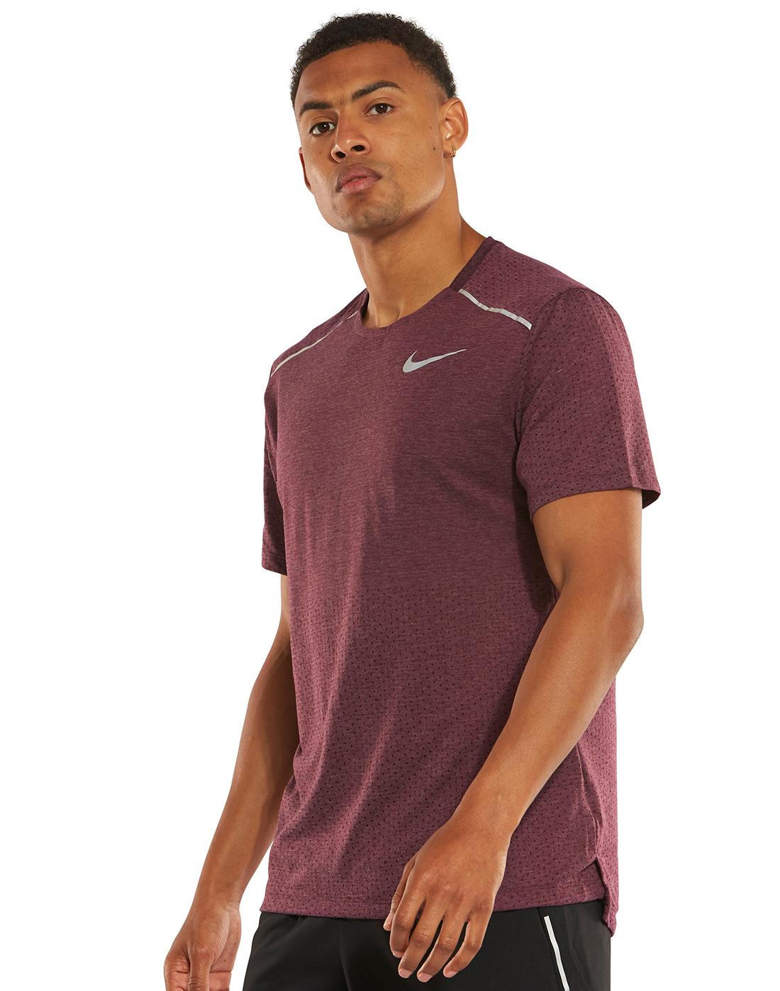 6012f2e9c Men's Burgundy Nike Breathe Rise Running T-Shirt | Life Style Sports