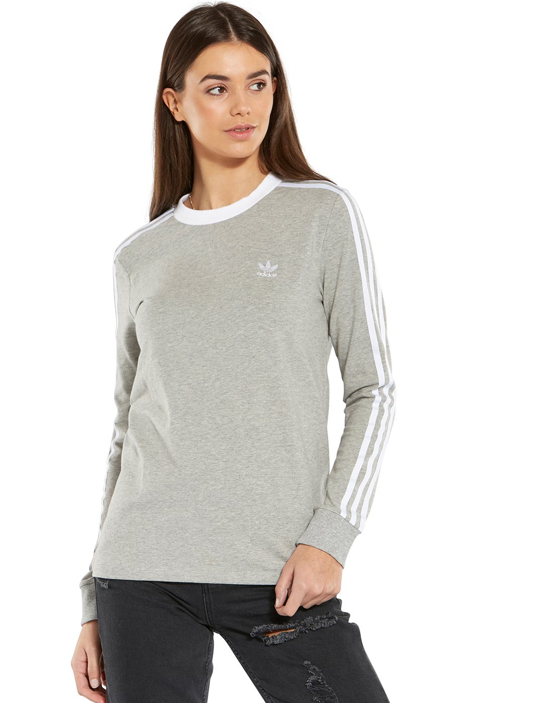 e780a655c606 Women's Grey adidas Originals Long Sleeve Top | Life Style Sports