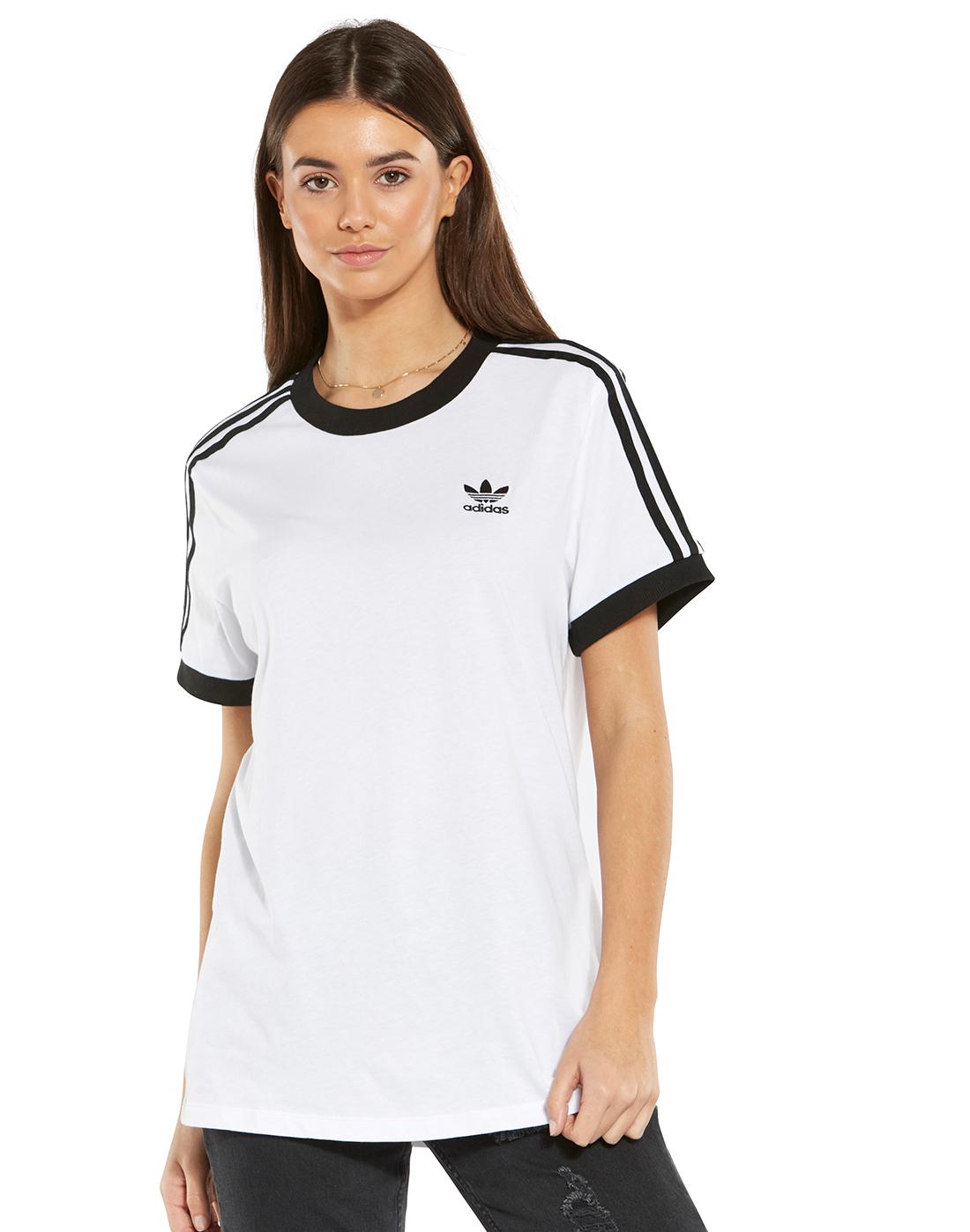 2acacc84ea Women's White & Black adidas Originals 3-Stripe T-Shirt | Life Style ...