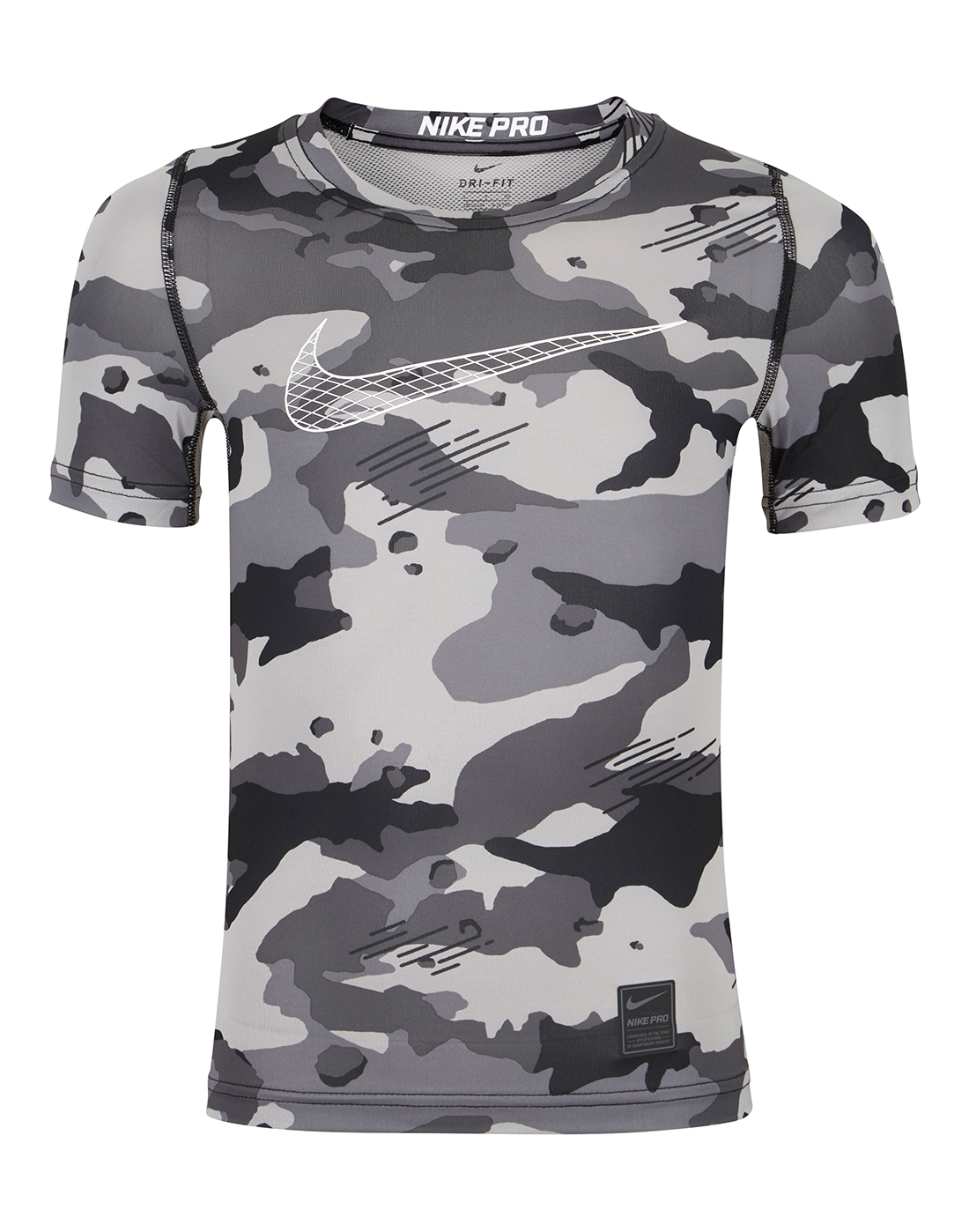 e3370ec50 Boy's Grey Camo Nike Pro T-Shirt | Life Style Sports