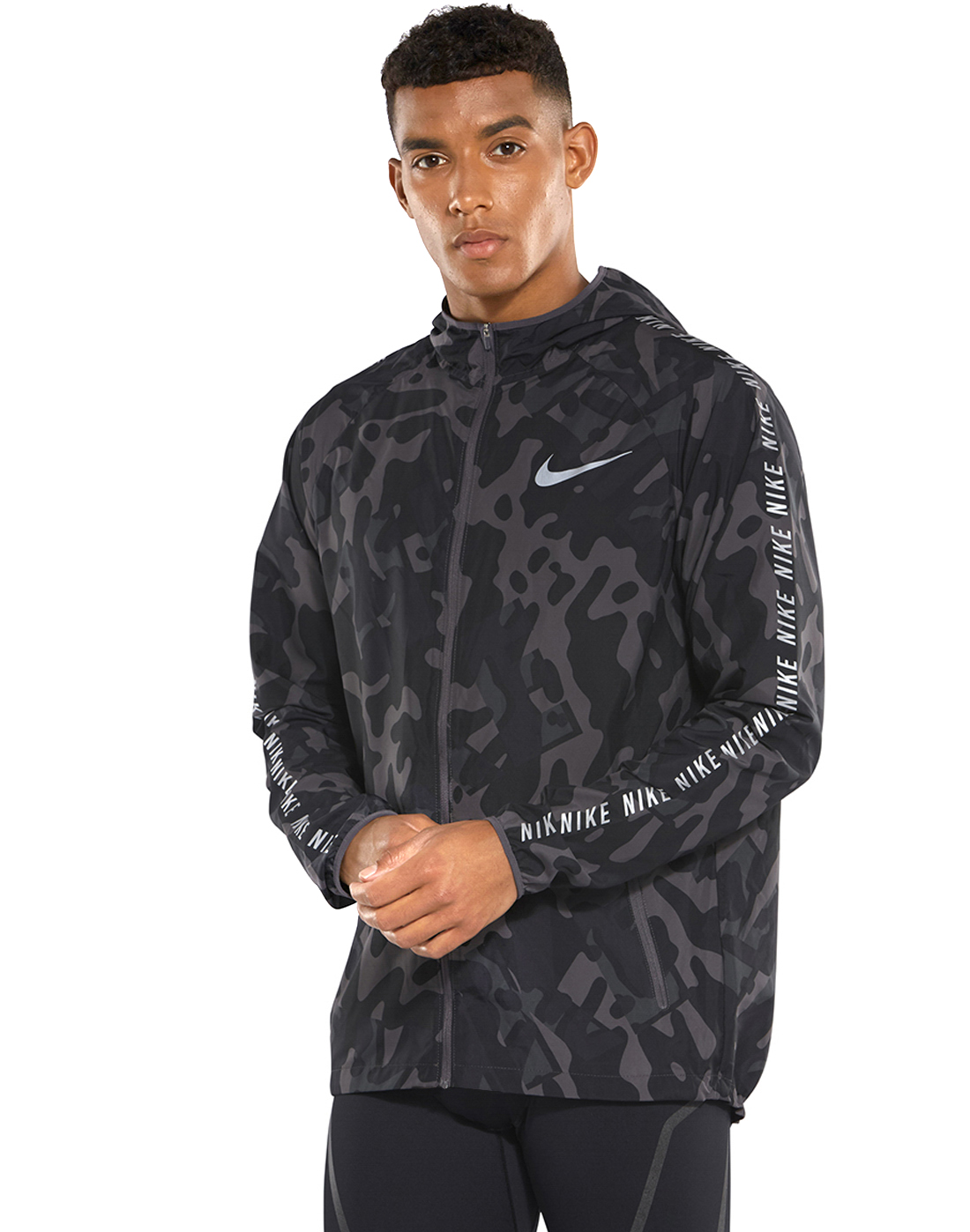 5f51cae2af8e Men s Black Nike Camo Running Jacket