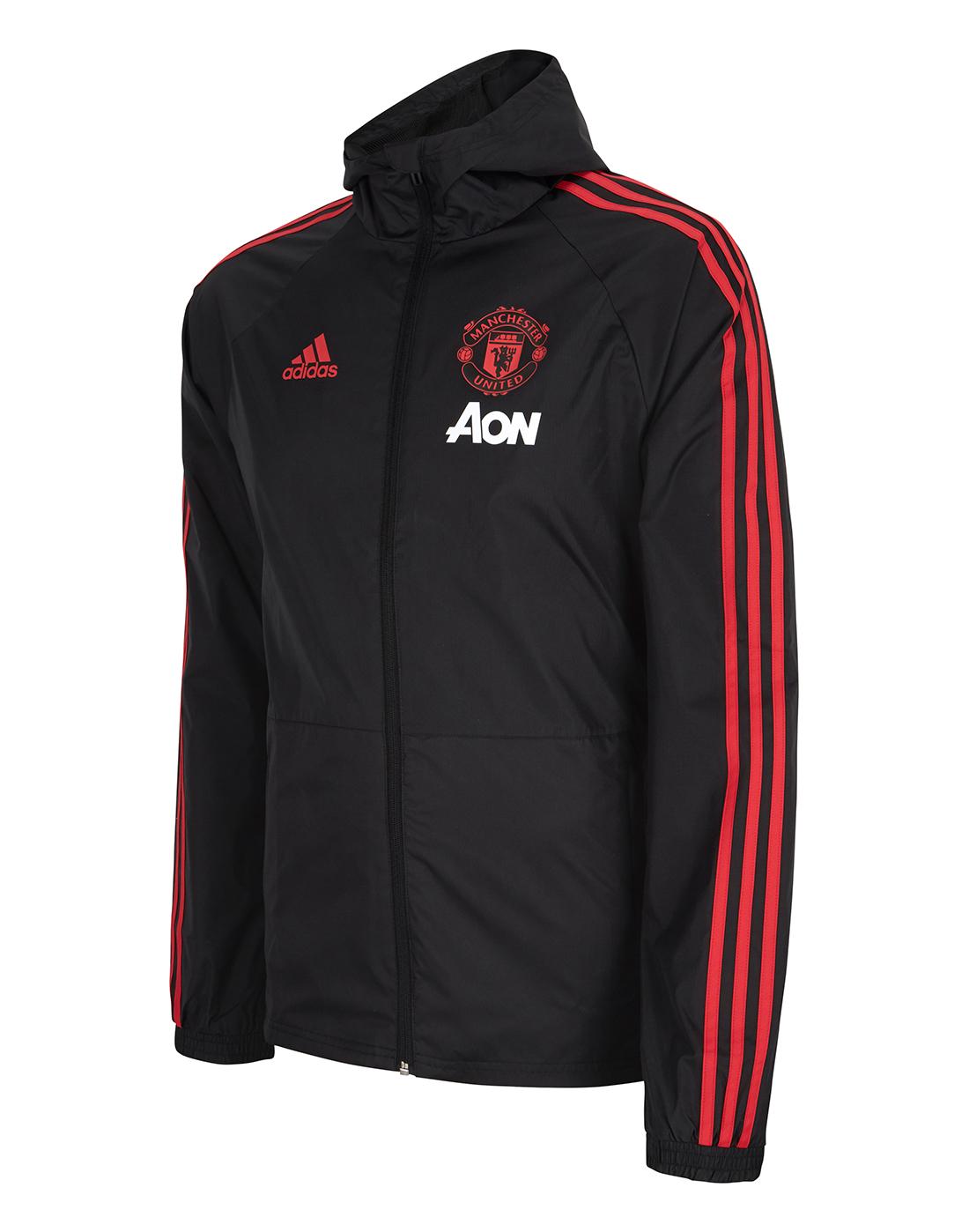 online store a5324 e50b5 Man United Black Rain Jacket | adidas | Life Style Sports