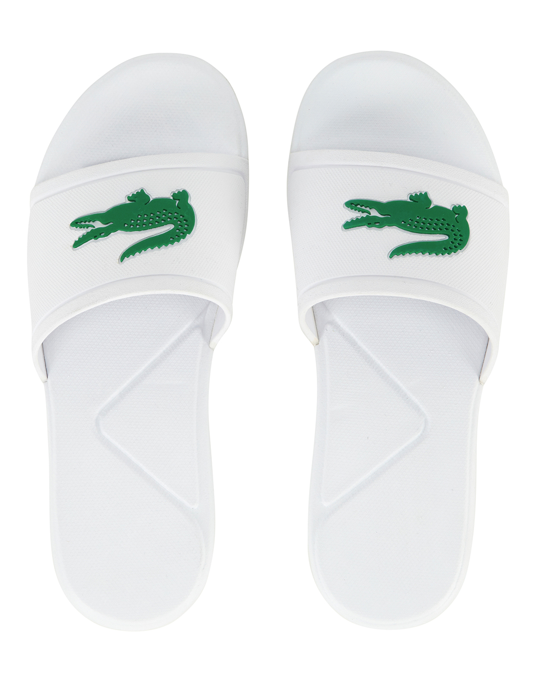 4fcaa3bb3492 Kid s White   Green Lacoste Slides
